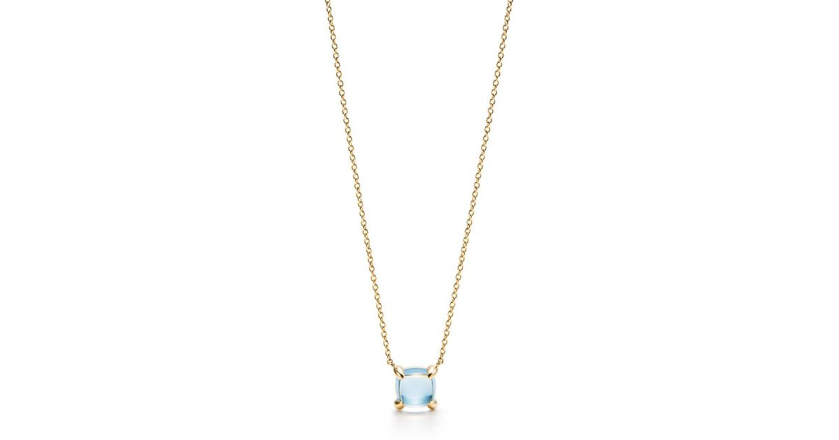 248410e5d Tiffany & Co. Paloma's Sugar Stacks Pendant In 18k Gold With A Blue Topaz  in Metallic - Lyst