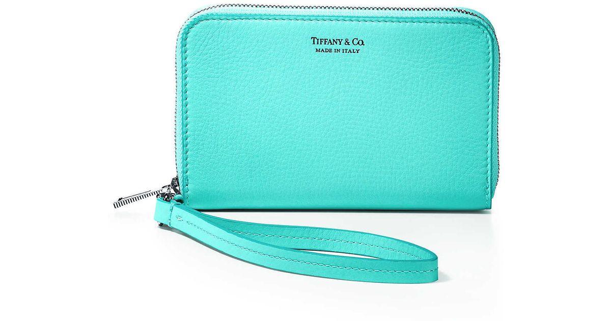 74afab8e86 Tiffany & Co. Zip Wallet In Tiffany Blue® Grain Calfskin Leather in Blue -  Lyst