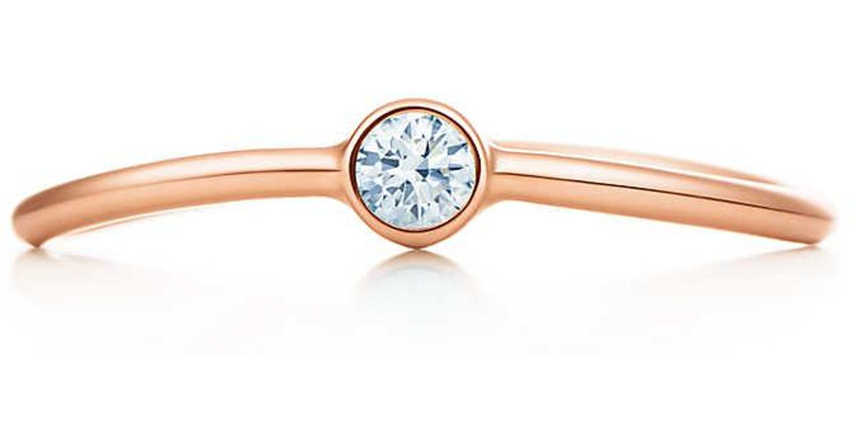 8e48897c7 Tiffany & Co. Elsa Peretti. Wave Single-row Diamond Ring In 18k Rose Gold -  5 1/2 in Pink - Lyst