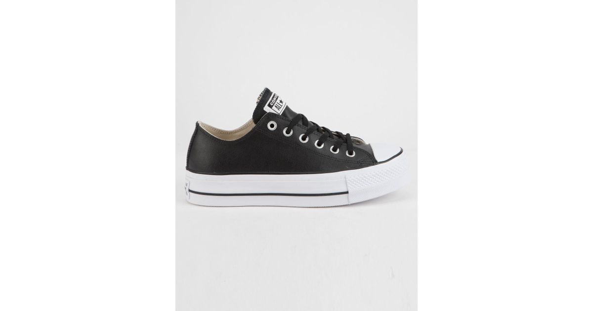 29aa0870b Converse Chuck Taylor All Star Lift Faux Leather Womens Low Top Shoes in  Black - Lyst