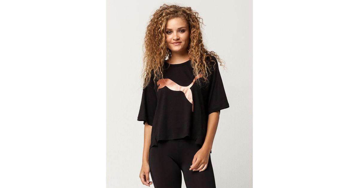 2f400769a82 PUMA Transition Women Tee in Black - Lyst