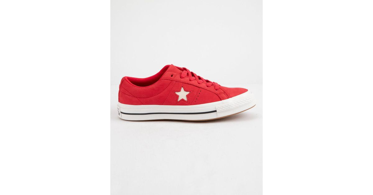 45066e0391703c Lyst - Converse One Star Ox Cherry Red   Vintage White Womens Low Top Shoes  in Red