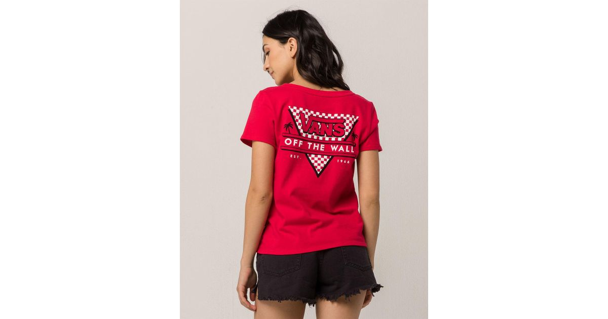 343dff997a Lyst - Vans Tri Check Womens Baby Tee in Red - Save 18%