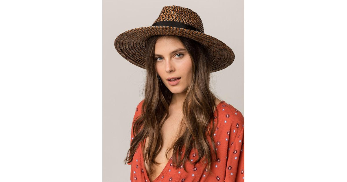 96ef85f107e41 Lyst - Brixton Joanna Black   Brown Womens Straw Hat in Brown