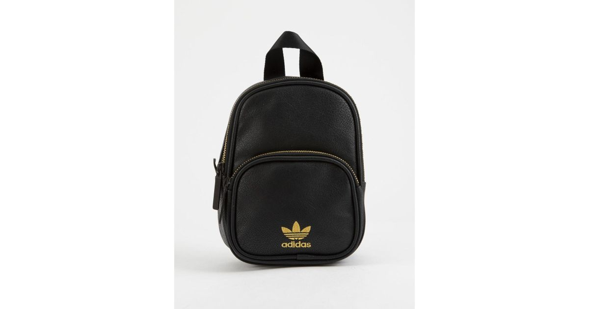 9777331d26 Lyst - adidas Originals Faux Leather Black Mini Backpack in Black