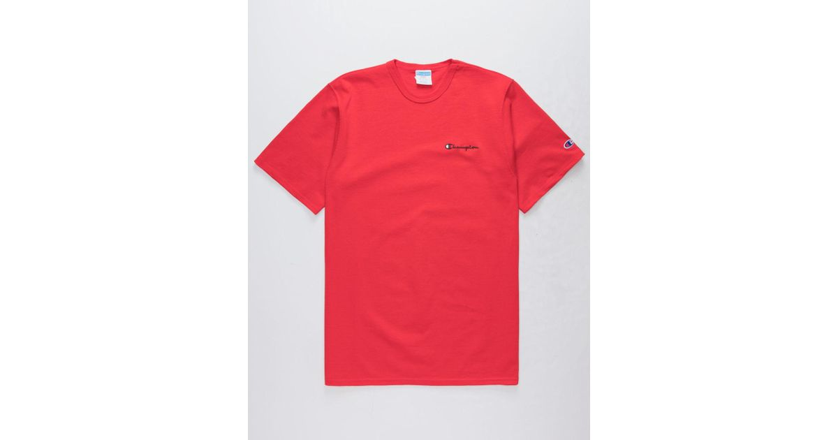 d9c1cd89 Champion Embroidered Script Logo Red Mens T-shirt in Red for Men - Lyst
