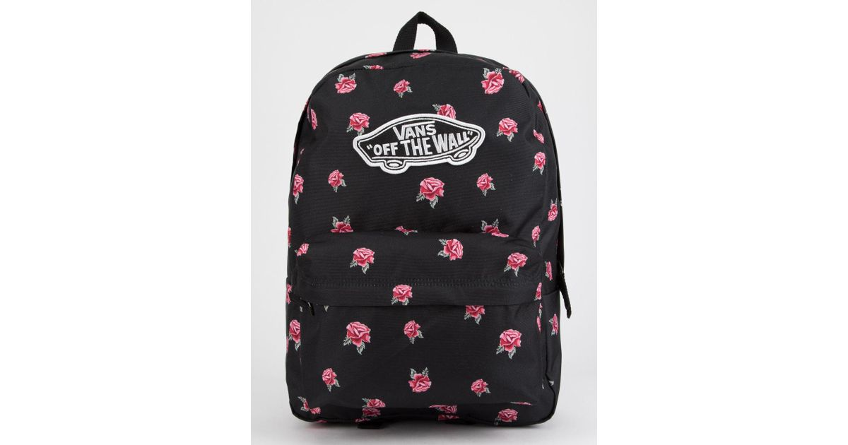 02f88e7aade Lyst - Vans Realm Black   Rose Backpack in Black