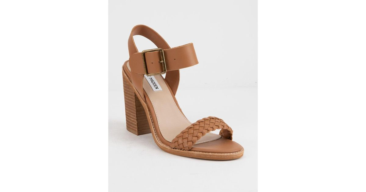 c7b281bb9c6 Lyst - Steve Madden Cadence Cognac Leather Womens Heeled Sandals in Brown