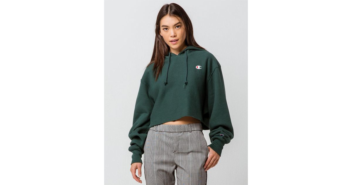 9f229d464 Lyst - Champion Reverse Weave Cropped Cut Off Hood in Green - Save 2%