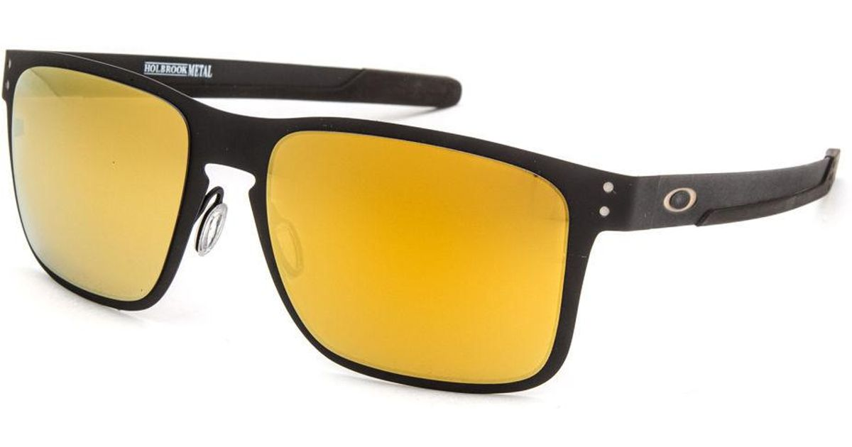 759e69fc69a Oakley Holbrook Metal Matte Black & 24k Iridium Sunglasses in Black for Men  - Lyst