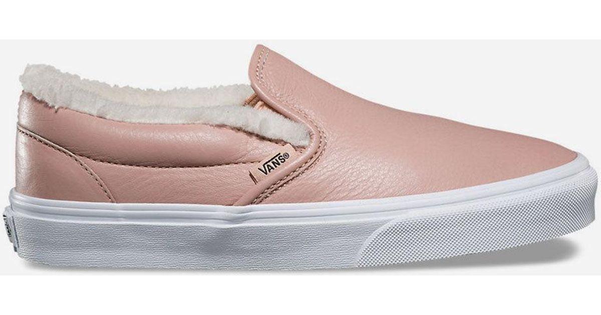 173da3b589 Lyst - Vans Leather Classic Slip-on Womens Shoes