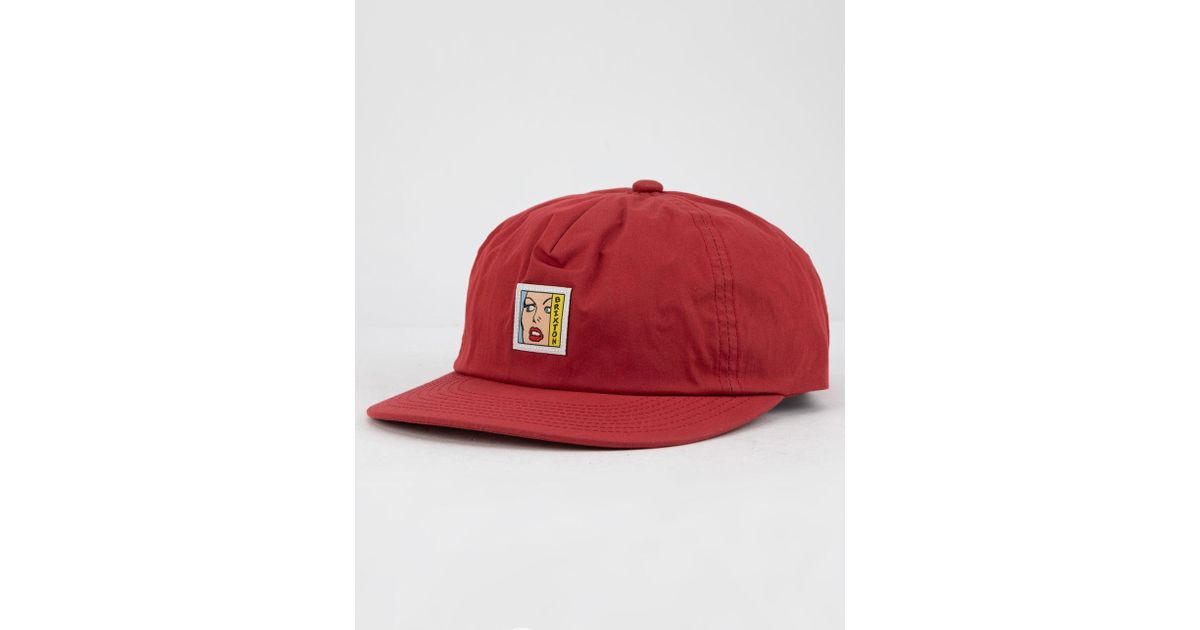 a2a486621811a Lyst - Brixton Damsel Lp Burgundy Mens Strapback Hat in Red for Men