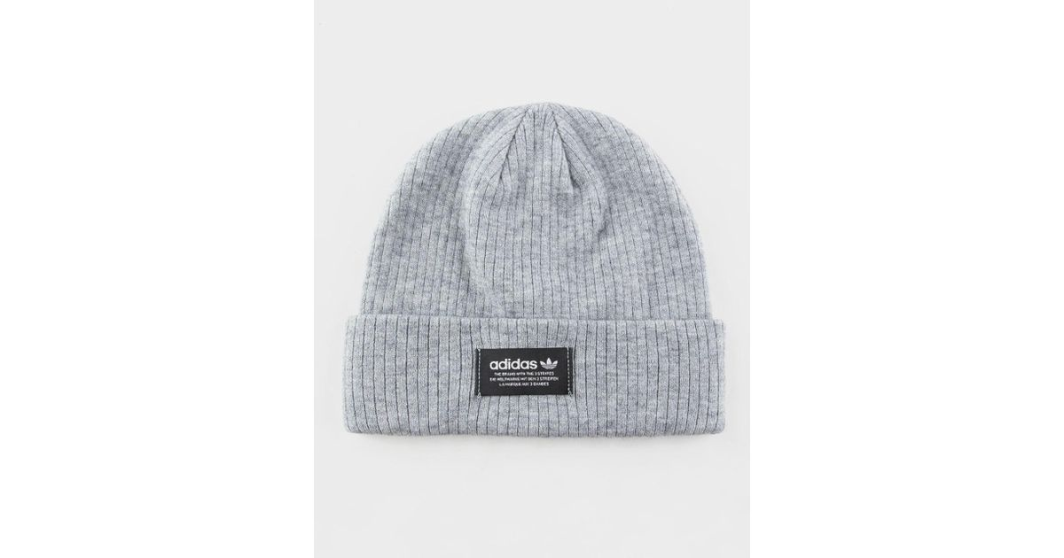 Lyst - adidas Originals Ribbed Heather Gray Womens Beanie in Gray 0a52a22f653