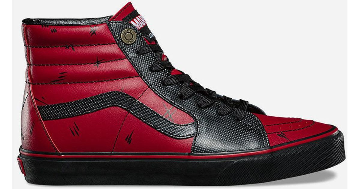 9a95ad4a895 For Men Deadpool Shoes Red Hi Sk8 Lyst X Vans Marvel In Znp1zO