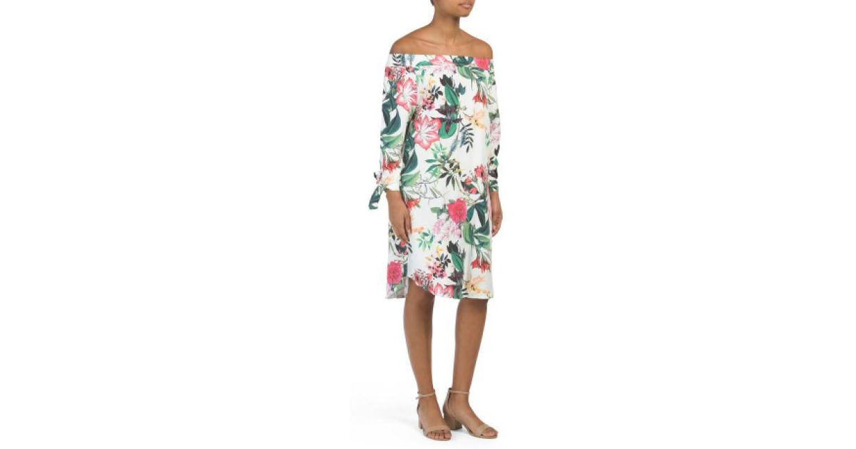 188dec825b4 Lyst - Tj Maxx Made In Italy Tropical Off The Shoulder Dress in White