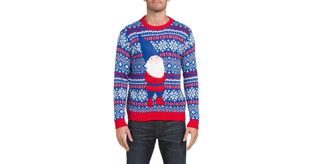 Lyst Tj Maxx Grumpy Gnome Christmas Sweater In Blue For Men