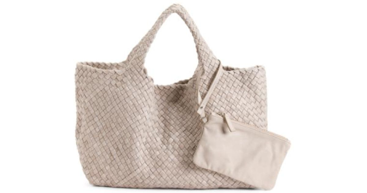 9f38d123b777 Super Langellotti Italian Woven Distressed Leather Bag Poshmark CH18 Source  · Lyst Tj Maxx Made In Italy Woven Leather Tote in Gray