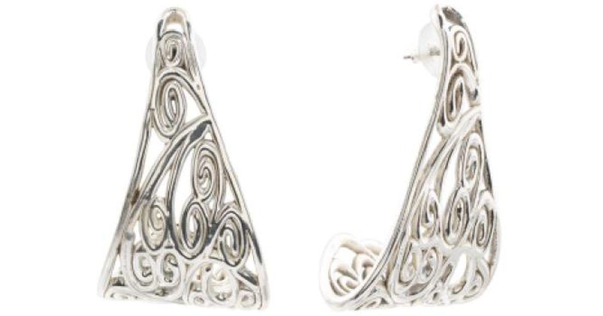 79feaca03 Lyst - Tj Maxx Made In Israel Sterling Silver Filigree J Hoop Earrings in  Metallic