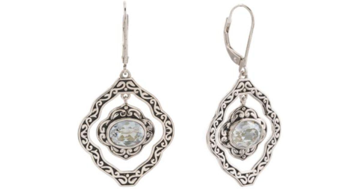 d6ae11616 Lyst - Tj Maxx Sterling Silver Swarovski Blue Shade Open Earrings in  Metallic