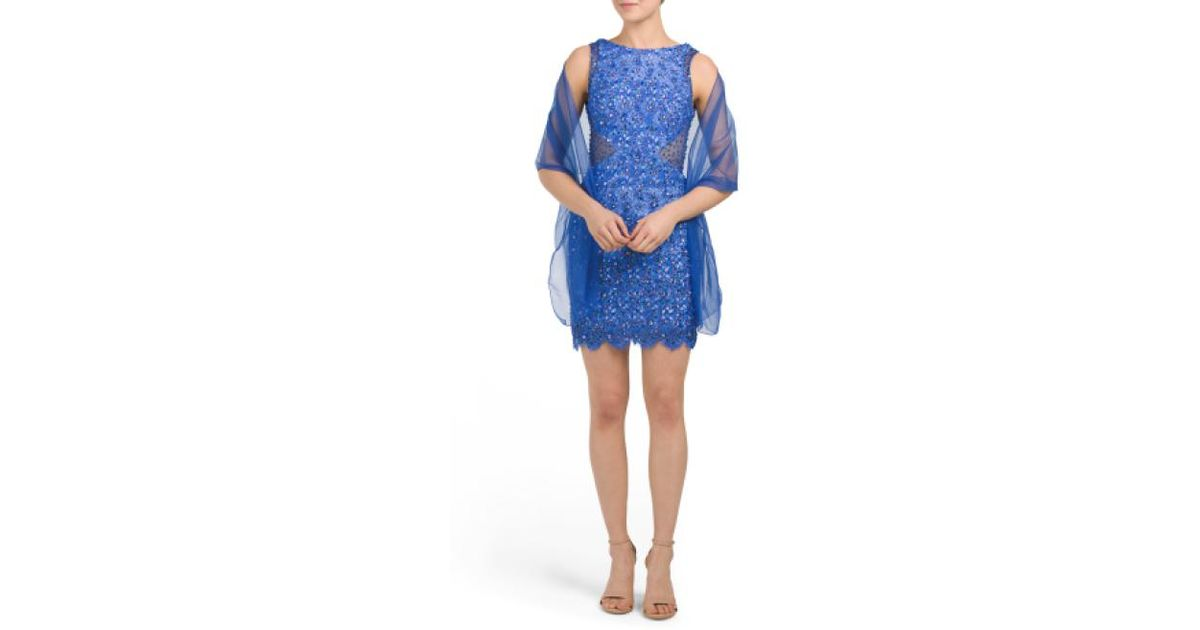 10cc409dc619 Lyst - Tj Maxx Petite Floral Beaded Lace Sheath Dress in Blue