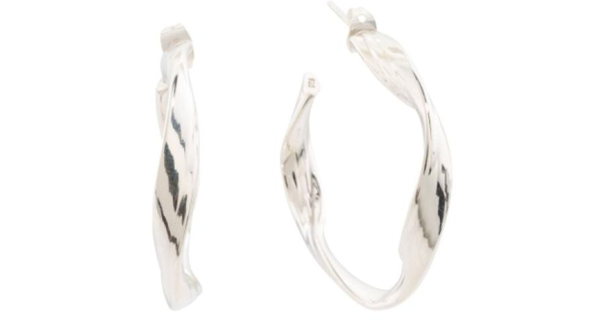 Lyst Tj Ma Handmade In Mexico Sterling Silver Mobius Hoop Earrings Metallic