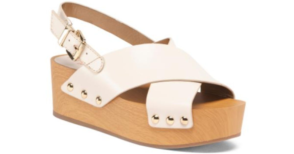 e0f85a64cde6 Lyst - Tj Maxx Platform Leather Sandals in White