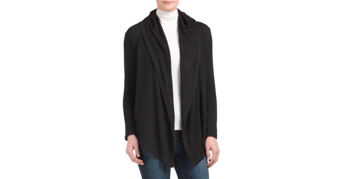 Tj maxx Petite Cozy Hooded Cardigan in Black | Lyst