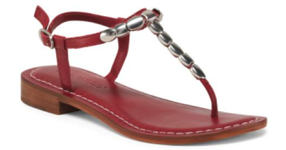 4ca2498fc41eb Lyst - Tj Maxx Thong Toe Leather Sandals in Red