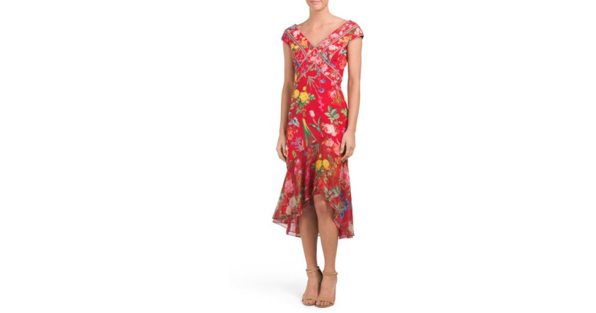 928a015f6783 Lyst - Tj Maxx Asymmetrical Hi-lo Hem Floral Dress in Red