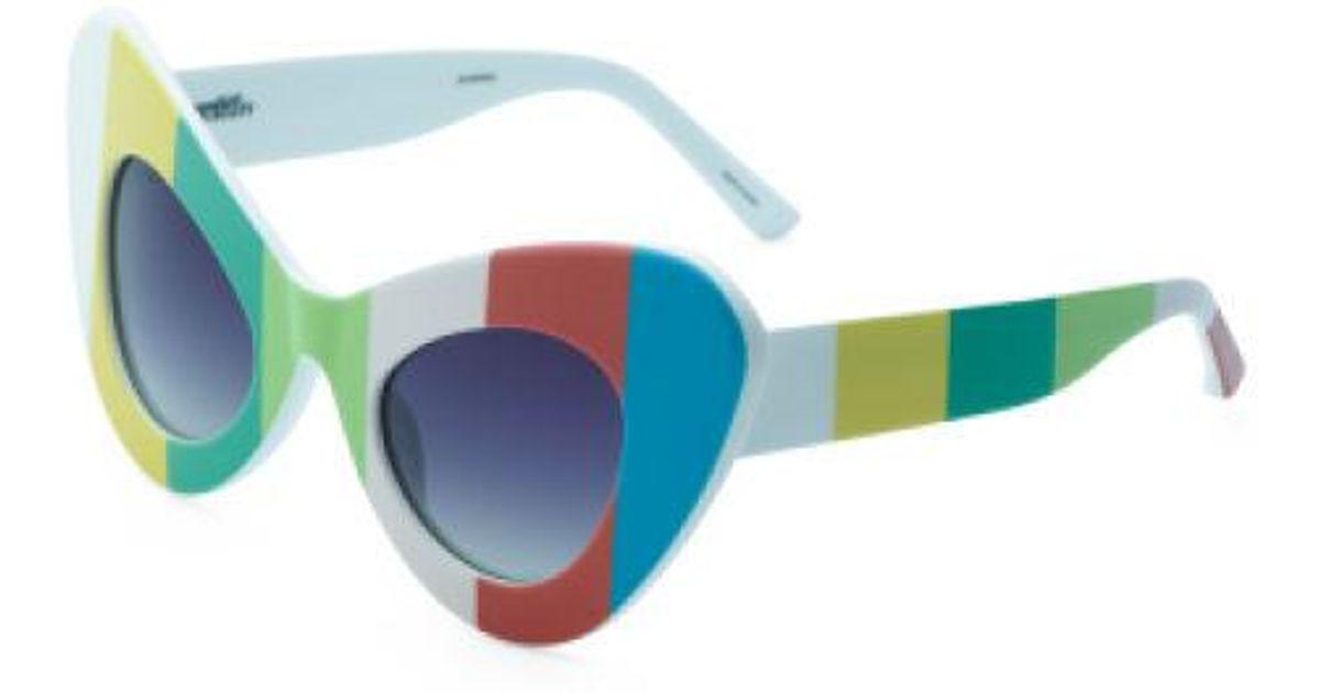 cf8fe85e52ef Lyst - Tj Maxx Made In Japan Oversized Cat Eye Print Sunglasses in Blue