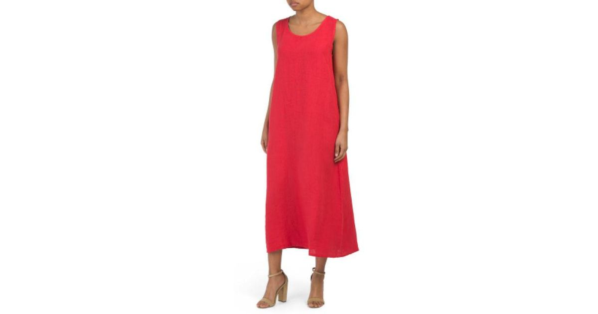 aa8370465903 Lyst - Tj Maxx Made In Italy Linen Maxi Dress in Red