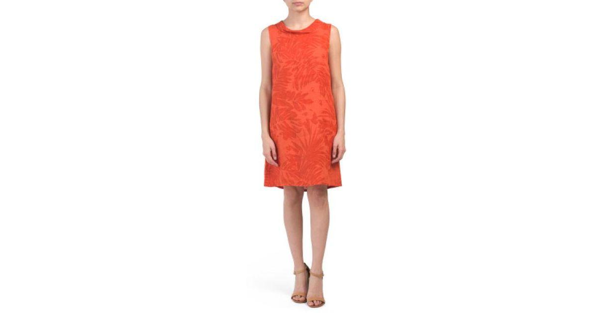 6bbd4066063 Lyst - Tj Maxx Made In Italy Linen Banana Leaf Print Dress in Orange
