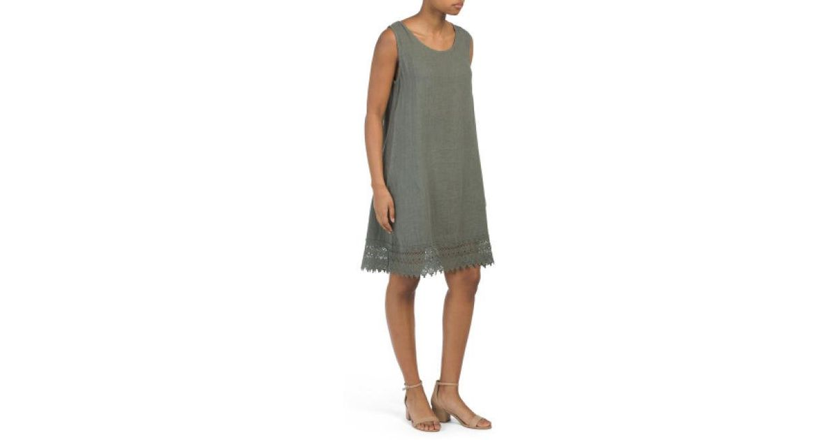 cb4985b5d40 Lyst - Tj Maxx Made In Italy Linen Tie Back Dress in Green