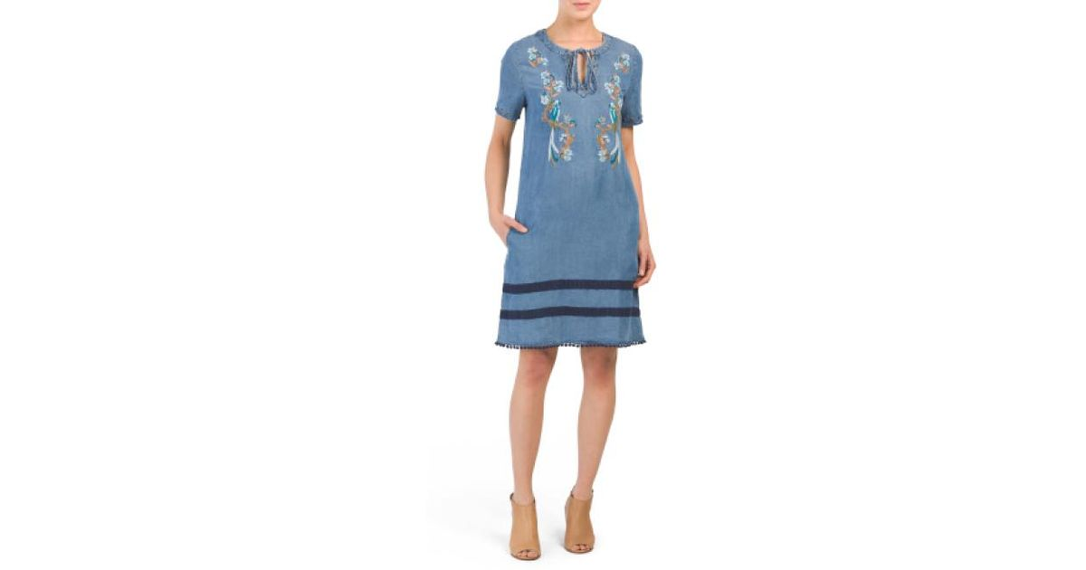 bd74e8563637 Lyst - Tj Maxx Embroidered Front Dress in Blue