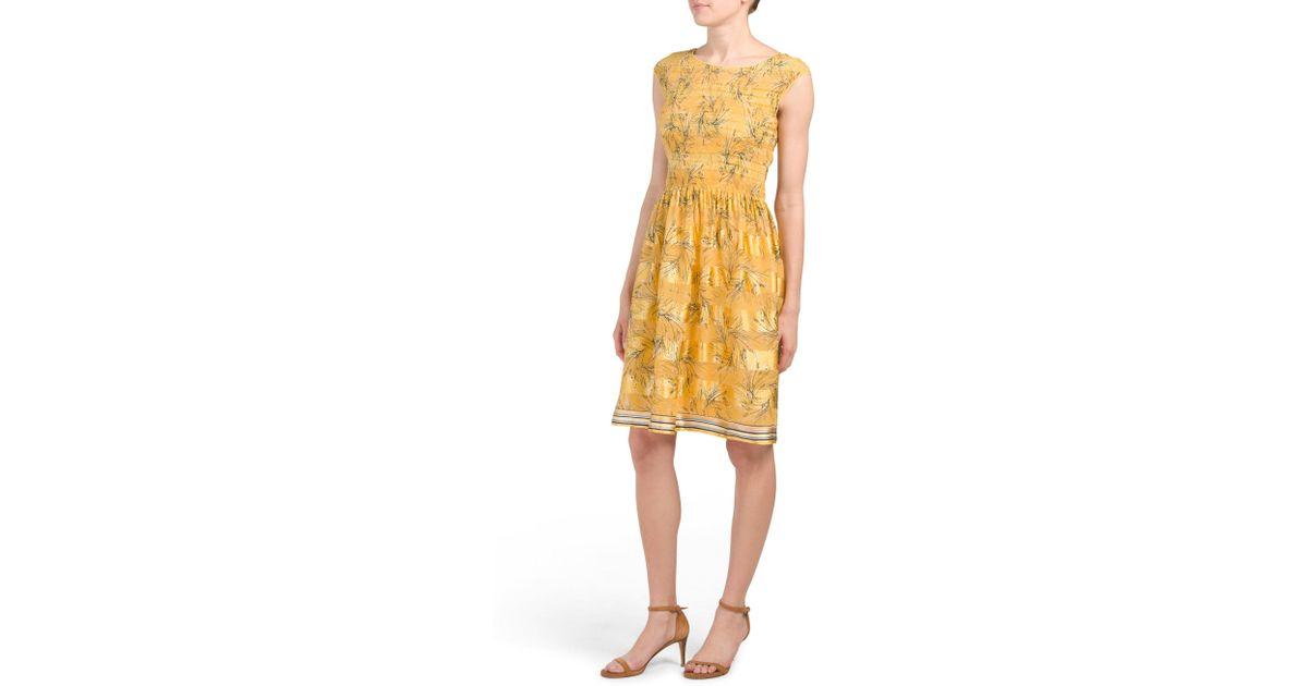 f908d04765b4 Tj Maxx Cap Sleeve Printed Dress in Yellow - Lyst