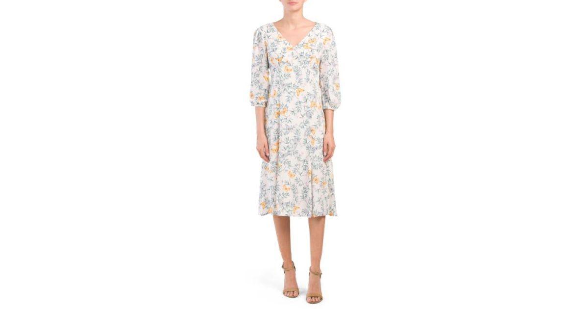 5628c74650ff Lyst - Tj Maxx Chiffon Floral Midi Dress in White