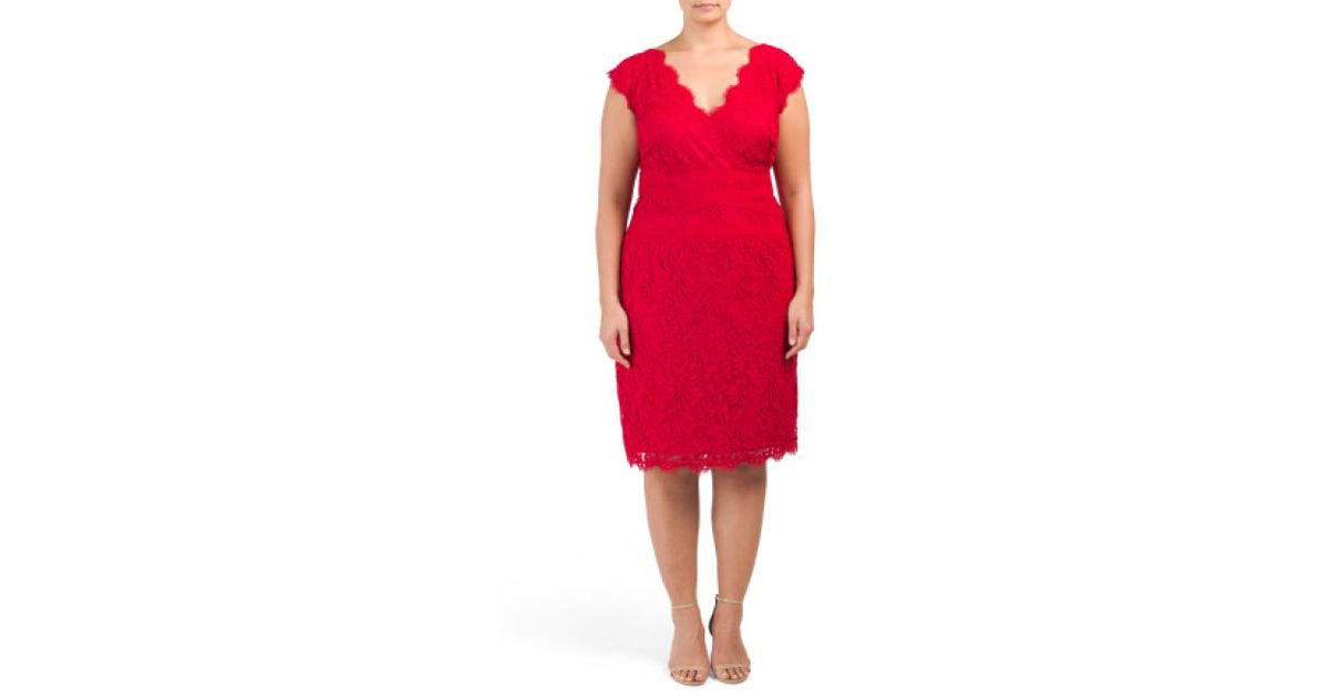 fb93bd2ac4f2 Lyst - Tj Maxx Plus Floral Lace Sheath Dress in Red