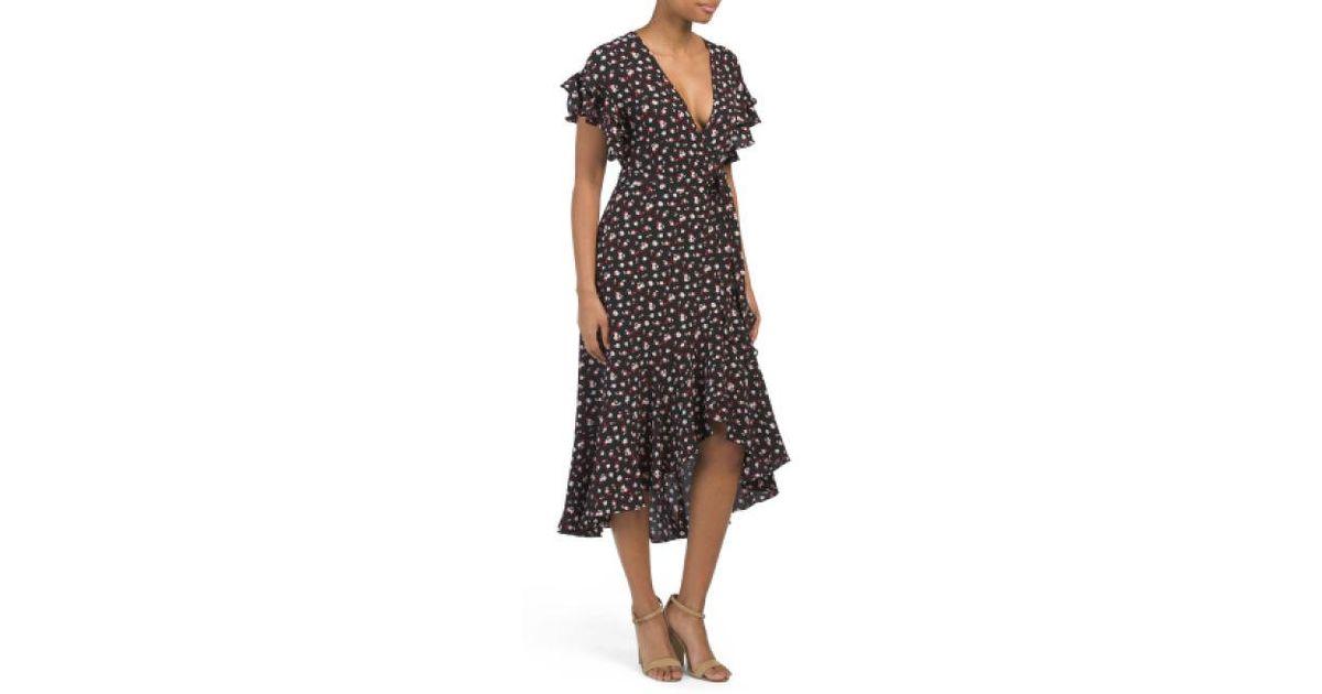 78d9e7ecf774 Tj Maxx Blossom Print Bubble Crepe Midi Dress in Black - Lyst