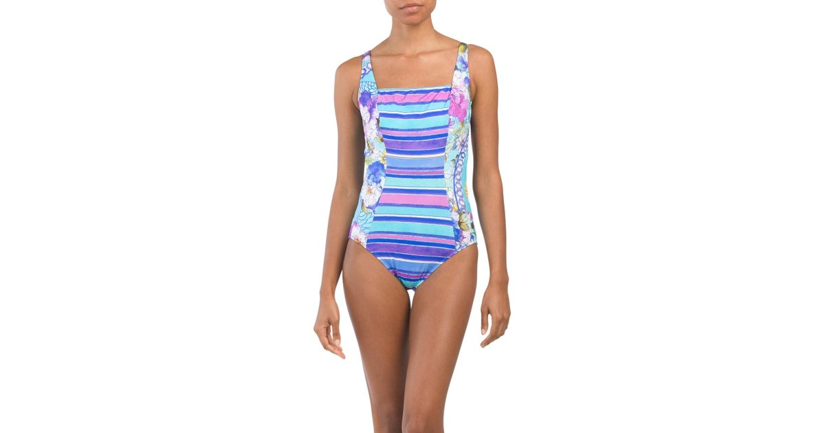 67a792840faa1 Tj Maxx Samosir One-piece Swimsuit in Blue - Lyst