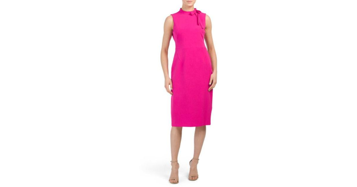 9007361da3f0 Lyst - Tj Maxx Tie Neck Sleeveless Midi Dress in Pink