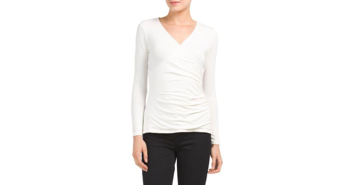 Lyst Tj Maxx Petite Faux Wrap Knit Top In White