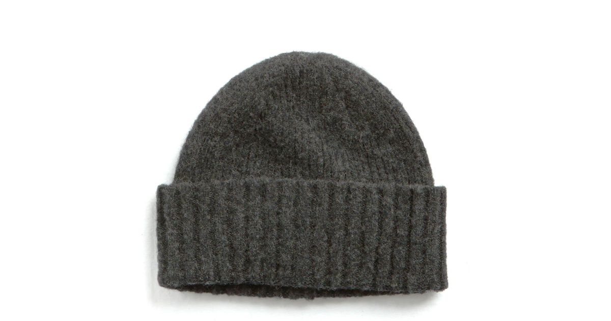 f385fcdaac9 Lyst - Drake s Brushed Ribbed Lambswool Hat In Dark Grey in Gray for Men