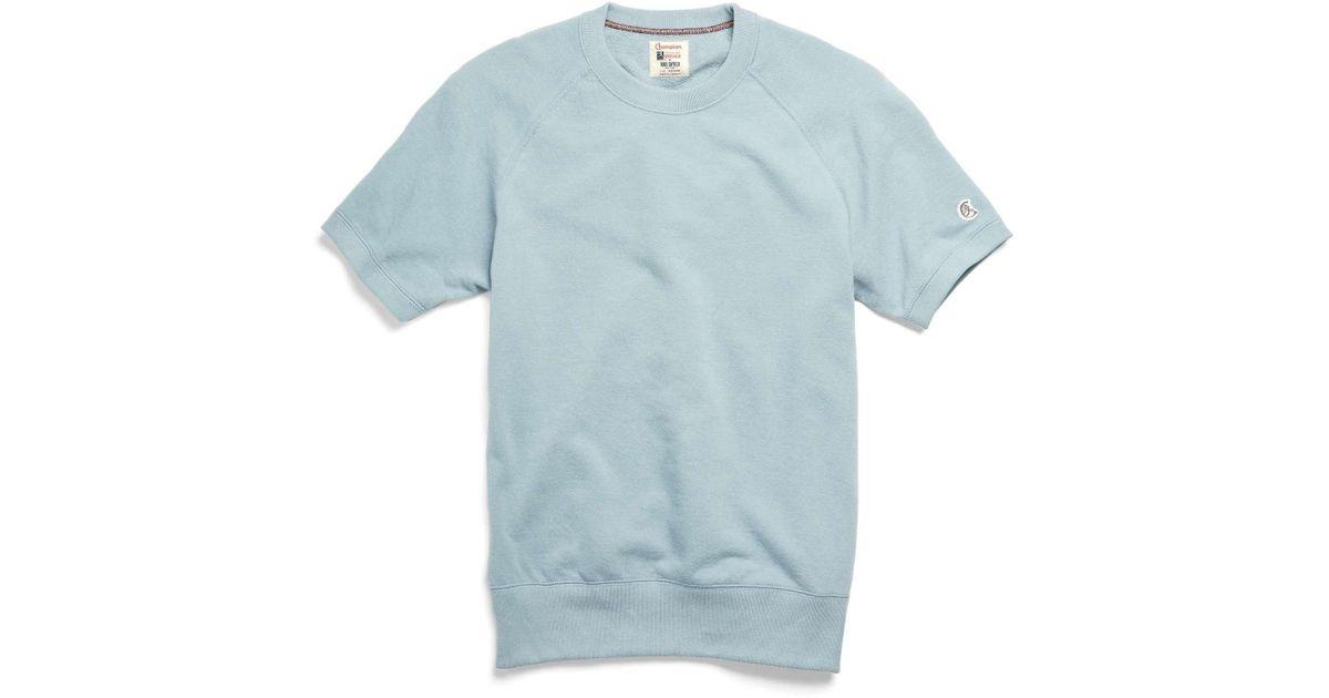 77feee2a Todd Snyder Short Sleeve Sweatshirt In Light Blue in Blue for Men - Lyst