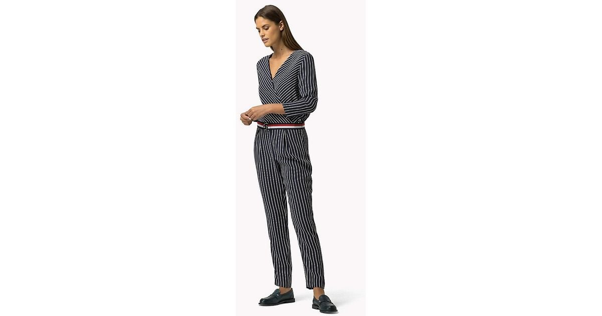 3a275971c Tommy Hilfiger Striped Jumpsuit in Blue - Lyst