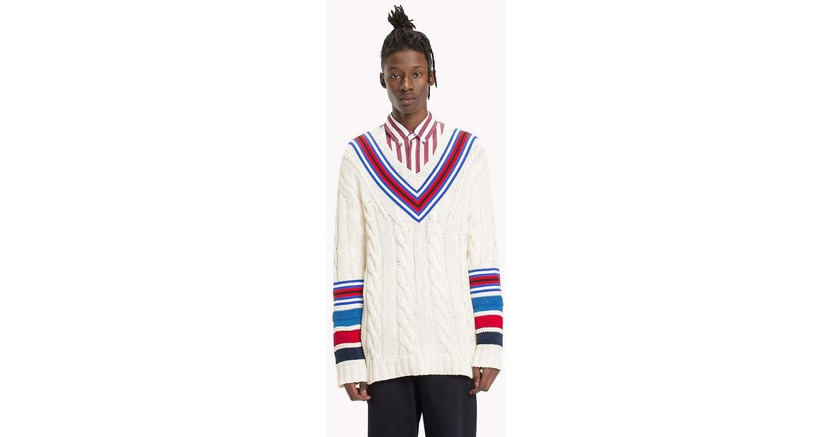 84bb81efb4c Tommy Hilfiger Cable-knit Cricket Jumper in White for Men - Lyst