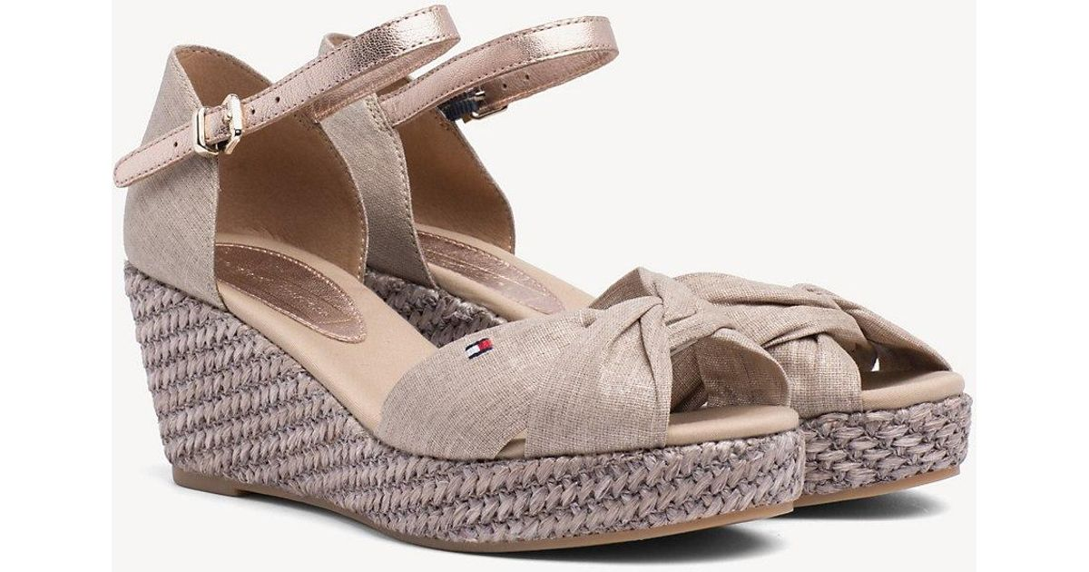 c0c0457d1dbe Tommy Hilfiger Metallic Canvas Sandals in Natural - Lyst