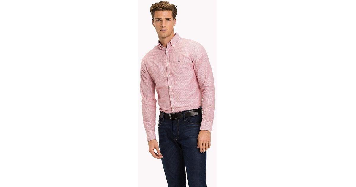 d229f611 Tommy Hilfiger Stripe Cotton Linen Regular Fit Shirt in Red for Men - Lyst