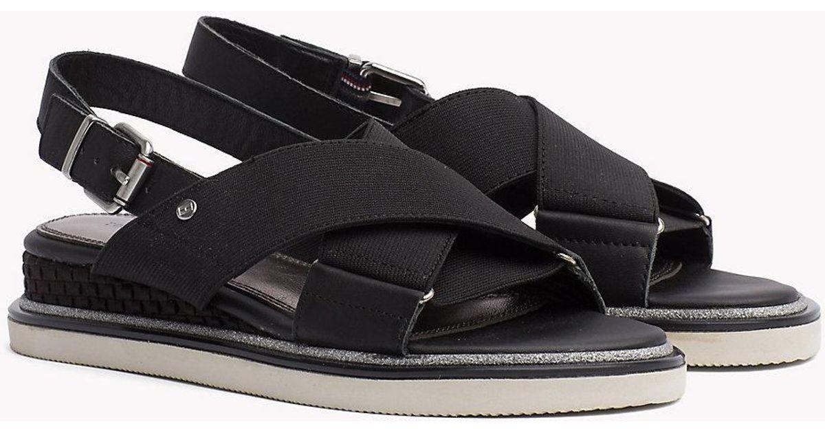 2452208f4760b5 Tommy Hilfiger Sporty Stretch Sandals in Black - Lyst