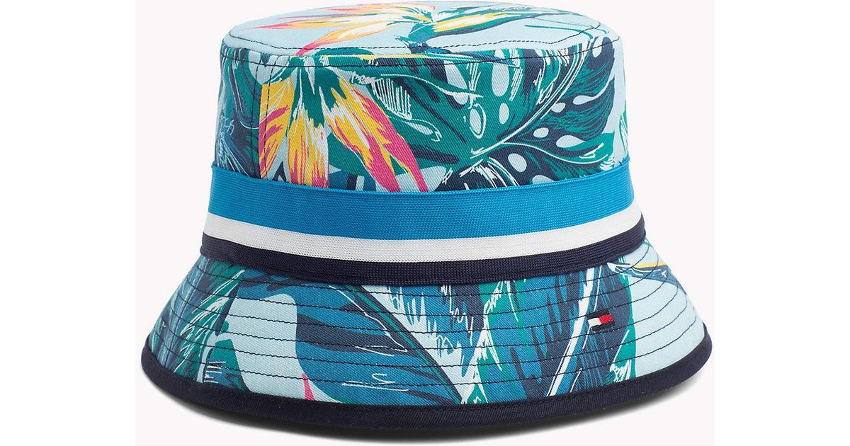 94fef0b88ec Tommy Hilfiger Tropical Print Bucket Hat in Blue - Lyst