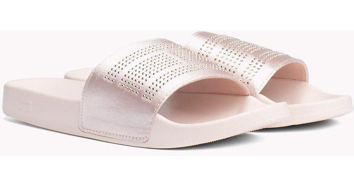 fd5b242b4278 Tommy Hilfiger Satin Sparkle Detail Pool Slides in Pink - Lyst